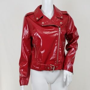 BB Dakota It's Electric Red Vinyl Moto Jacket M